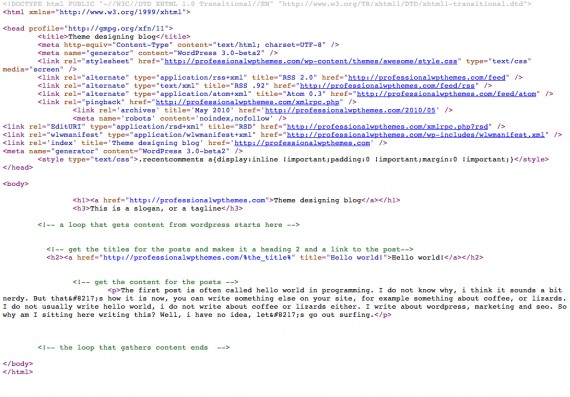 Illustration 5: The source for the site looks a bit like the one you wrote in your text editor