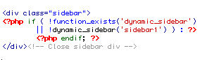 Illustration 11: This will call for the sidebar 1 that you made in functions.php
