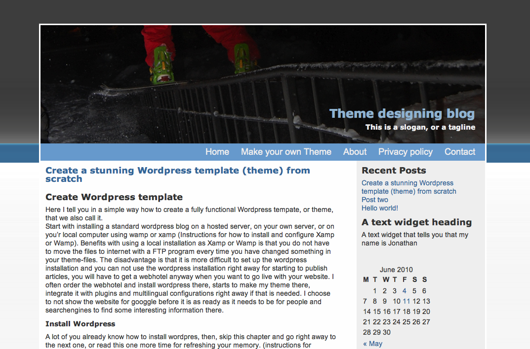 The template can be styled with backgrounds and pictures for Create new template in wordpress