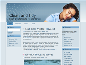 Clean blue wordpress template